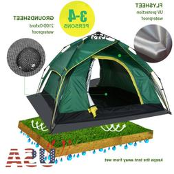 Auto Hydraulic 3-4 Person Double Layer Camping Tent Waterpro