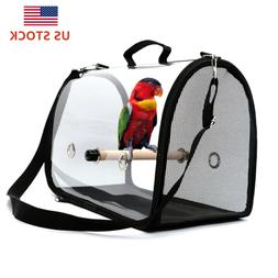 Bird Travel Carrier Transport Cage Breathable Perch Pet Back