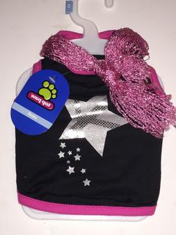 Top Paw Black & Pink Pet Shirt with Fashion Neck Scarf, Size