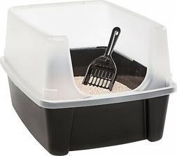 Black Plastic Open-Top Pet Cat Litter Box W  Scoop & Ext