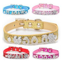 Bling Dog Cat Pet Personalized Leather Name Collar Chihuahua