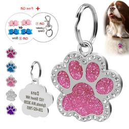 Bling Glitter Personalized Pet ID Tag Paw shaped Dog Name En