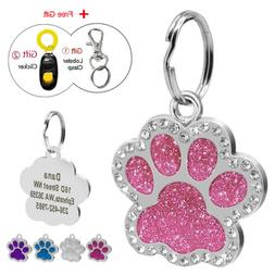 Bling Paw Glitter Personalized Dog Tags Engraved Puppy Pet I