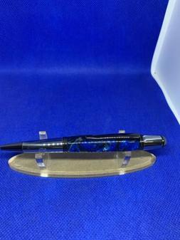 Blue Damascus Resin Chrome Ballpoint Pen