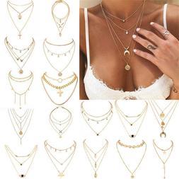 Boho Women Multi-layer Long Chain Pendant Crystal Choker Nec
