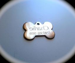PET TAGS BONE  ID STAINLESS STEEL 2 SIDE DIAMOND ENGRAVE DOG