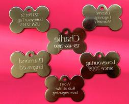 PET TAGS BONE  ID STAINLESS STEEL 2 SIDE DIAMOND ENGRAVE DOG