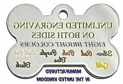 BONE ENGRAVED DOG/CAT ID NAME TAG DISC PERSONALISED CHEAP PE