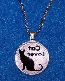"""CAT BLACK PET KITTEN  pendant Silver 20"""" Necklace women mom"""