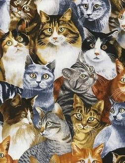 Cat Fabric - Packed Pets on Black C5484 - Timeless Treasures