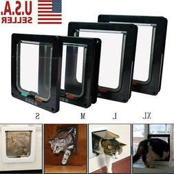 Cat Flap Door Magnetic Pet Door with 4 Way Lock Security For