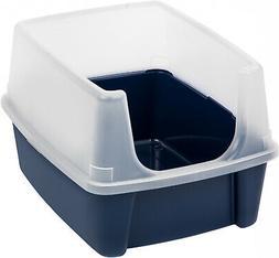 Cat Litter Box Clean Pet Cat Kitty Blue Open Top Regular Wit