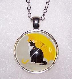 CAT PET PAW BLACK HANDMADE MOM charm pendant Silver Necklace