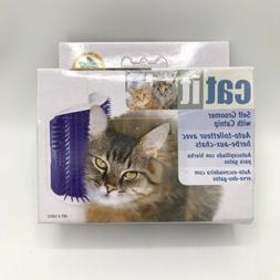 Cat Self Groomer With Catnip & Corner Mount Brush Blue Kitty