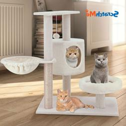 ScratchMe Cat Tree Tower with Hammock & Scratching Post Pet