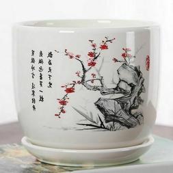 Ceramic Flower Glazed Pot Indoor Succulent Bonsai Plants Vas