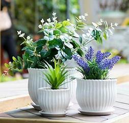 Nattol Ceramic Flower Plant Pots with Saucers Modern Round C