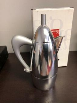 Giannini Chicca 3/1 Cup Stovetop Espresso Pot BNIB Silver Ha