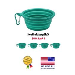 Collapsible Silicone Dog Bowls, 4 Pack,Expandable Pet Food &