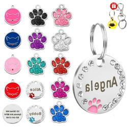 Bling Glitter Paw Round Personalized Dog ID Tags Disc Engrav