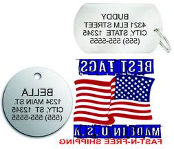 Custom Engraved Pet ID Tags for Dogs & Cats Round & Dog Tag