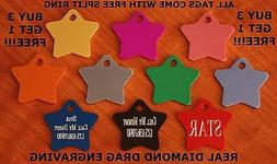 Custom Engraved DOUBLE SIDED Tag Pet ID  STAR SHAPED  DOG CA