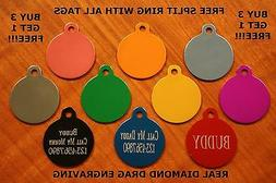 """Custom Engraved DOUBLE SIDED Tag Pet ID  CIRCLE  DOG CAT """"PR"""