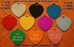 """Custom Engraved DOUBLE SIDED Tag Pet ID  HEART  DOG CAT """"PRE"""