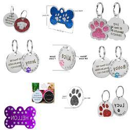 Custom Engraved Pet Dog Tags Personalized Bone/Paw/Round