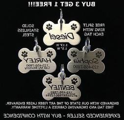 Custom Engraved STAINLESS STEEL BONE Pet Tag PAW PRINT Dog C