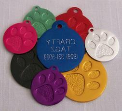 "Custom Engraved Tag Pet ID Paw Print DOG CAT ""PREMIUM QUALIT"