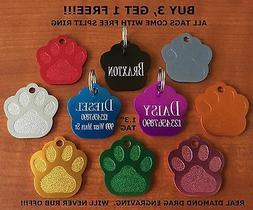 "Custom Engraved Tag Pet ID  PAW PRINT  DOG CAT ""PREMIUM QUAL"
