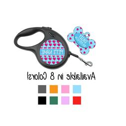Cute Hearts Custom Pet Id Dog Tags/Retractable Leashes Perso