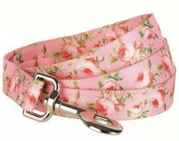 Blueberry Pet Designer Dog Leash, Pink Rose Floral, Size S,