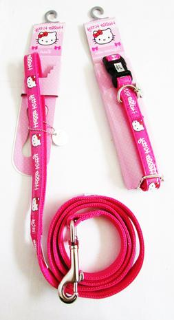 HELLO KITTY Discontinued Pet Pink Adjustable Leash Collar SM