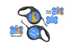 Disney Simba Pet Id Dog Tag & Retractable Leash Personalized