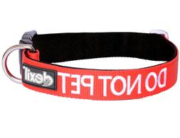 DO NOT PET Alert Message Dog Collar Red Padded Adjustable He