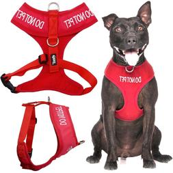 DO NOT PET Red Pet Dog Vest Harness Non Pull Front Back Clip