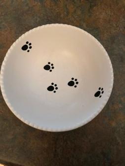 Dog Bowl Top Paw Paw Print White Ceramic Pet Food Or Water D