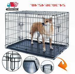 dog crate kennel folding pet cage metal