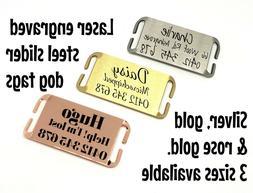 Dog ID tag silent slider steel laser engraved gold silver ro