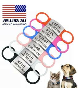 Dog ID Tags Personalized Engraved Slide on No Noise Name Col