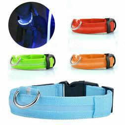 Dog LED Collar Blinking Night Flashing Light Up Glow Adjusta
