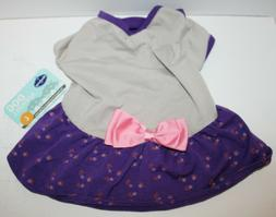 Blueberry Pet Dog Polo Dress with Ruffle and Bow - Small Bre