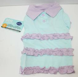 Blueberry Pet Dog Ruffle Polo Cotton Blend T shirt Dress - S