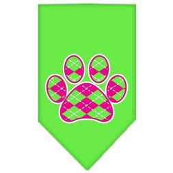 Dog Supplies Argyle Paw Pink Screen Print Bandana Lime Green
