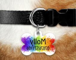 Dog Tag Pet Tag ID Tag - Personalised - Bone Tag - Rainbow P