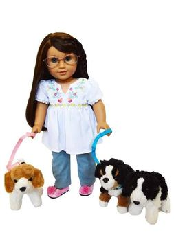 Dog Walker Set w/ 3 Pets for American Girl Dolls 18 Inch Dol