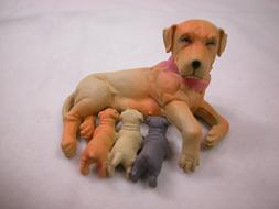 Dollhouse Miniature Animal House Pet Dog Puppy Mom & Babies