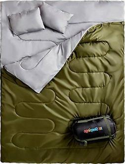 Waterproof Double Sleeping Bag For Two 2 Person Backpacking,